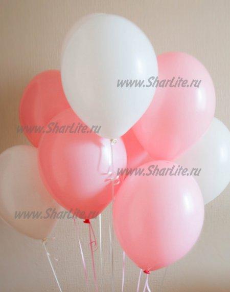 Воздушные шары розовые и белые