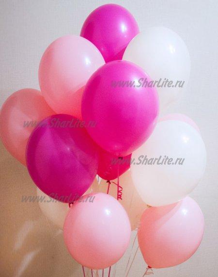 Шары с гелием белые, розовые и фуксия