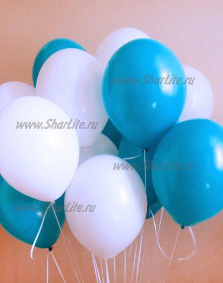 Воздушные шары белые и бирюзовые