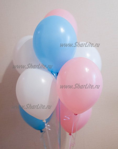 Воздушные шары Розовые, голубые и белые
