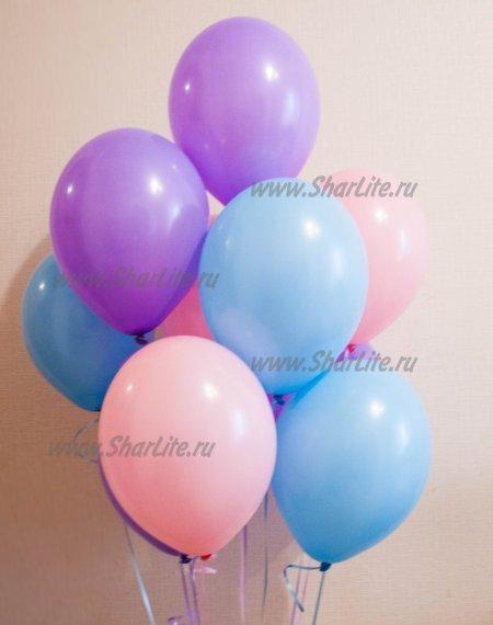 Шары розовые, голубые и фиолетовые