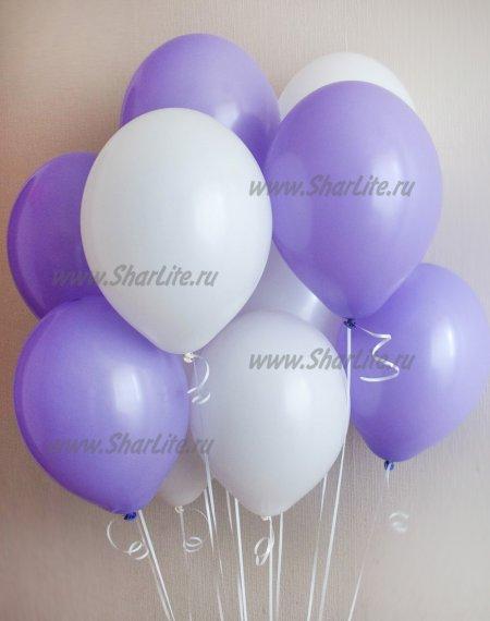 Воздушные шары белые и фиолетовые
