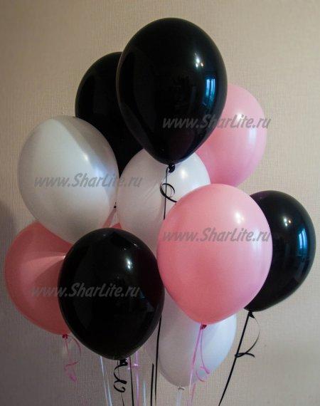 Шары белые, розовые и черные