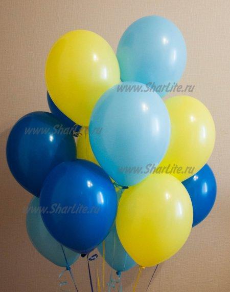 Воздушные шары Голубые, синие и желтые