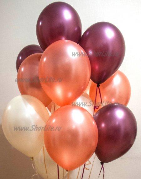 Воздушные шары розовое золото, айвори, бургунди