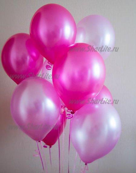 Шары нежно-розовые и фуксия металлик