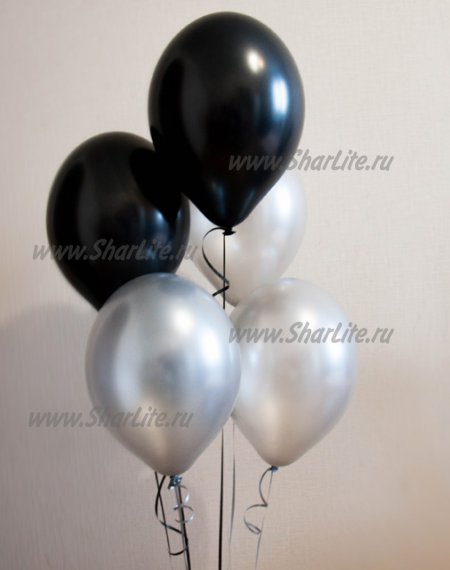 Воздушные шары черные с серебром