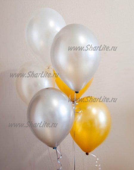 Воздушные шары белые с серебром и золотом