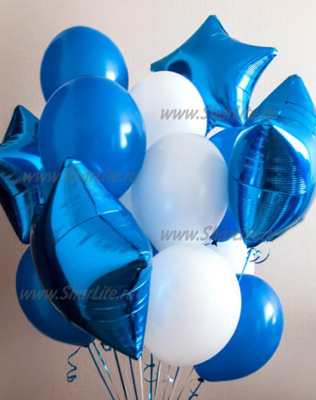 Букет из шаров В синих и белых тонах