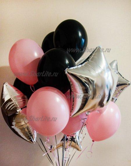 Букет из шаров Розовый с черным