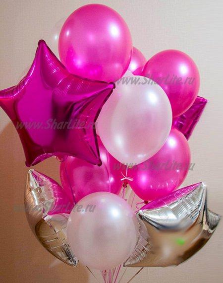 Букет из шаров Розовый и фуксия