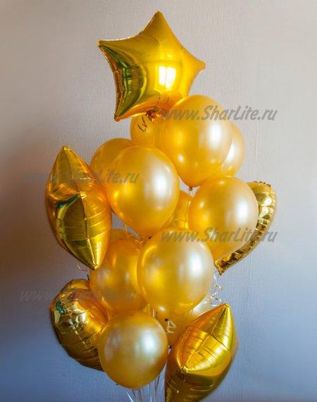 Букет из шаров с гелием - Золотой