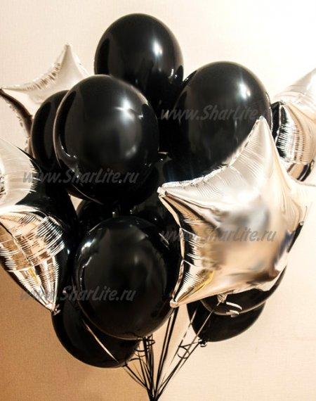Букет из шаров Черный с серебром