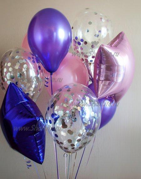 Букет из шаров недорого Фиолетовый с серебром