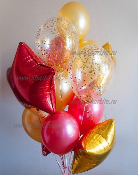 Букет из шаров Золотой с красным
