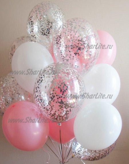 Букет розовый с серебряным конфетти