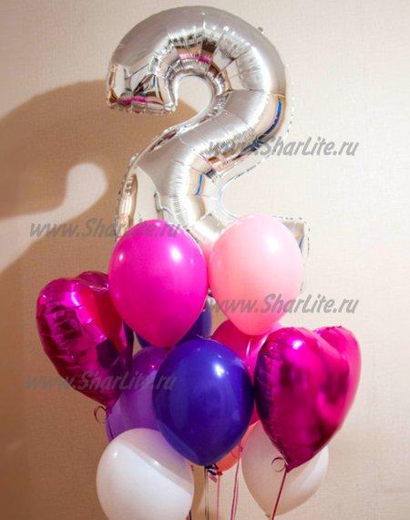 Букет из шаров в розово-фиолетовых тонах