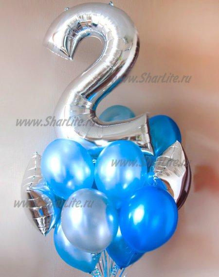 Букет из шаров синий с серебром