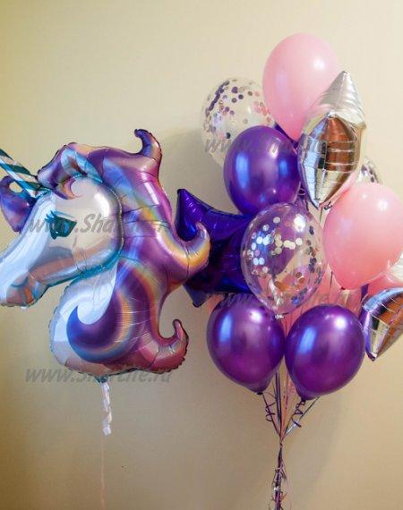 Букет из шаров Единорог фиолетовый