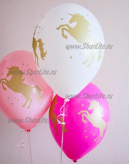 Воздушные шары Золотые единороги