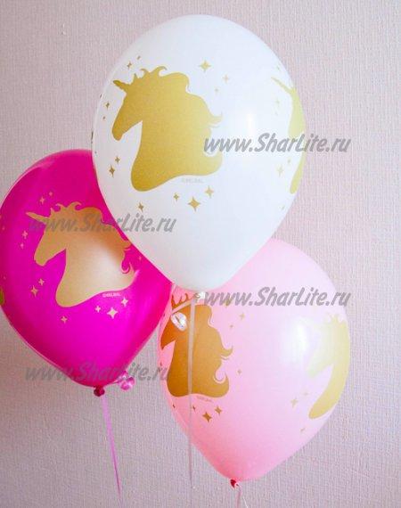 Воздушные шары Золотая голова Единорога