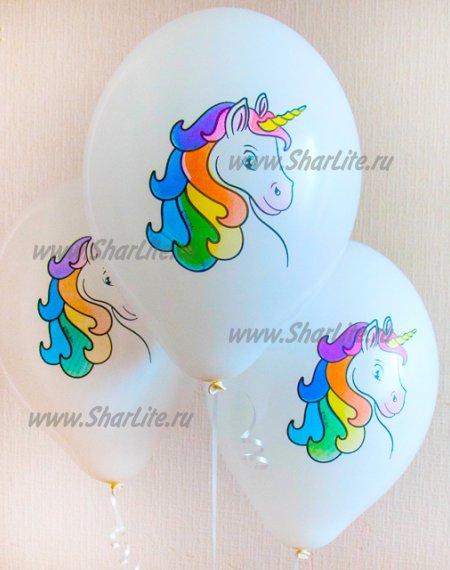 Воздушные шары голова Единорога цветная