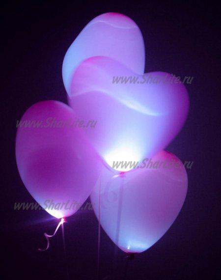 Сердечки розовые со светодиодами