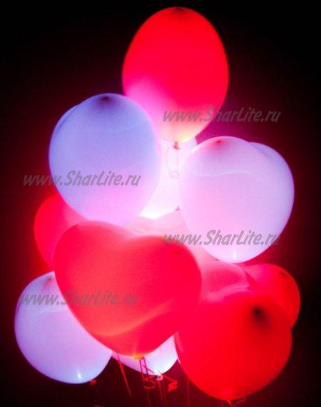 Сердечки светящиеся со светодиодами белые и красные