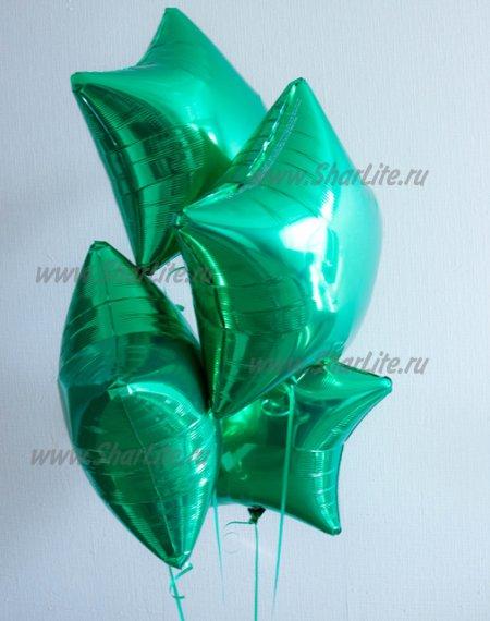 Фольгированные звезды зеленого цвета