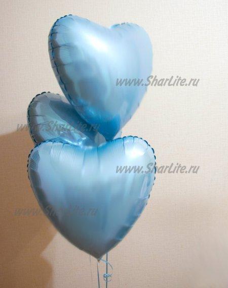 Фольгир. Сердца голубые пастель