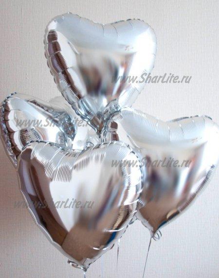 Фольгированные шары Сердца серебро