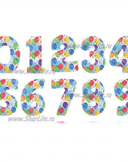 Фольгированные цифры разноцветные