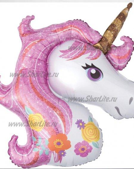 Фольгированная Голова Единорога розовая