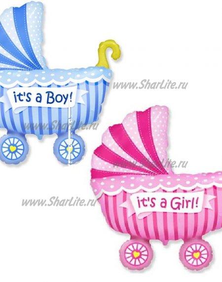 Фольгированный воздушный шар Коляска Boy/Girl