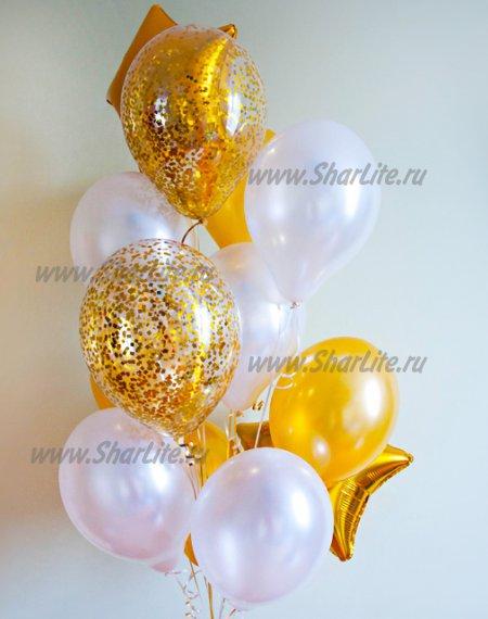 Букет из шаров Золотой с перламутром