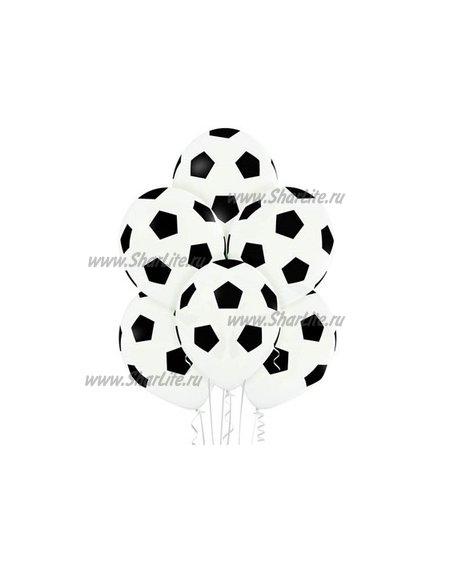Воздушные шары с рисунком мячей черно-белые