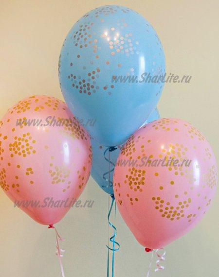 Шары с конфетти розовые/голубые