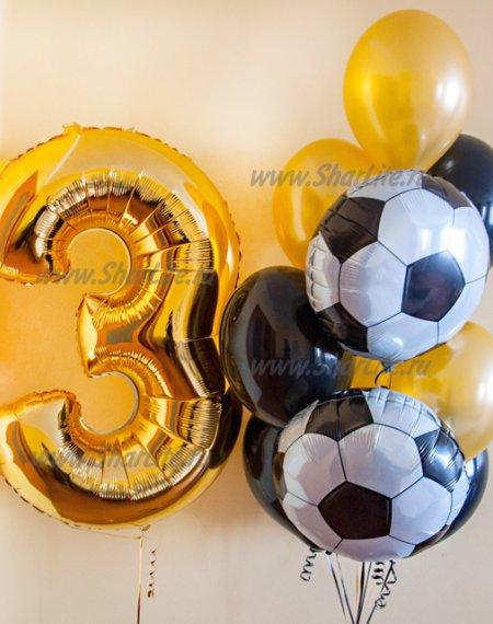Набор с цифрой и футбольными мячами