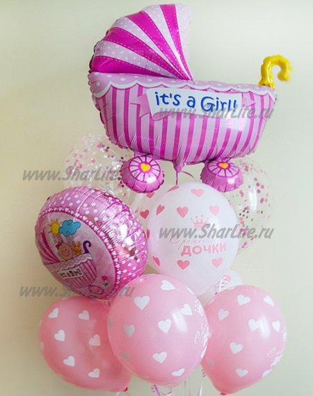 Букет из шаров на выписку девочки с коляской