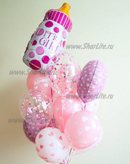 Букет шаров на выписку девочки с бутылочкой