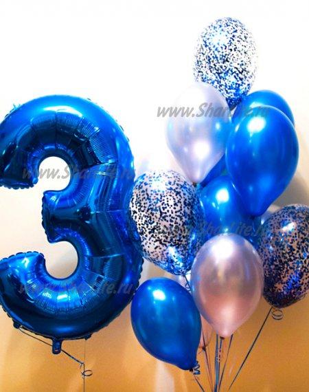 Набор из шаров с цифройв синей гамме