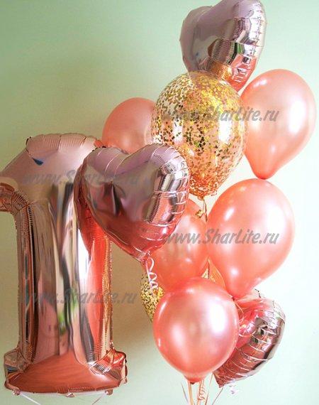 Букет из шаров Розовое золото с цифрой