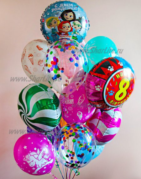 Букет шаров яркое ассорти с шариком с цифрой