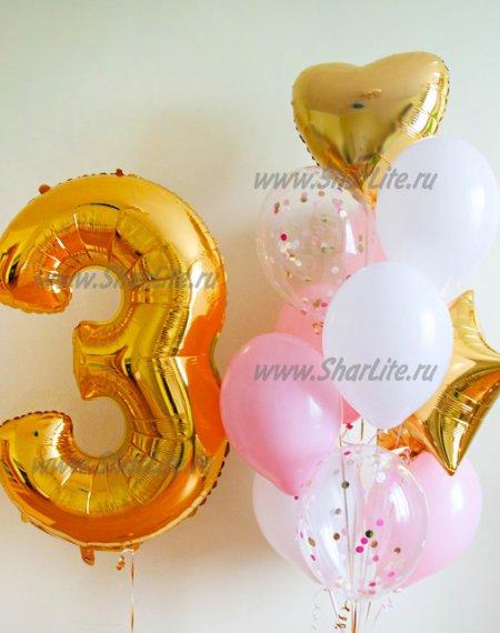 Набор из шаров с цифрой в розово-золотой гамме