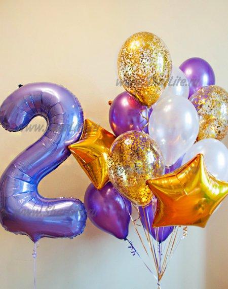 Букет из шаров в фиолетово-золотых тонах с цифрой
