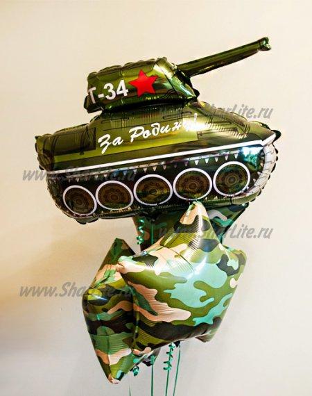 Букет шаров танк и звезды