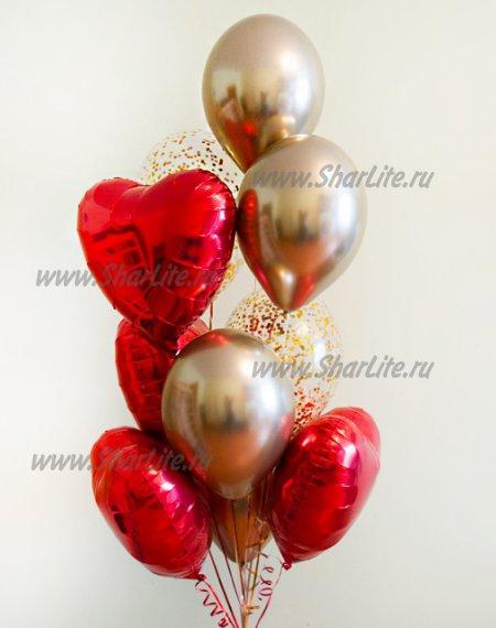 Букет Золотые Хром и красные сердца