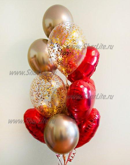 Коробка-сюрприз с шарами ХРОМ и сердцами №6
