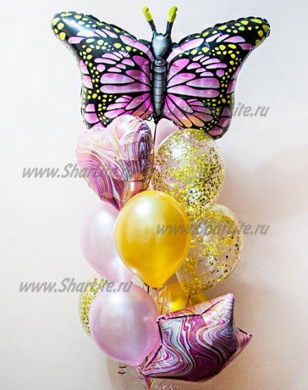 Набор шаров с бабочкой и мраморными звездами