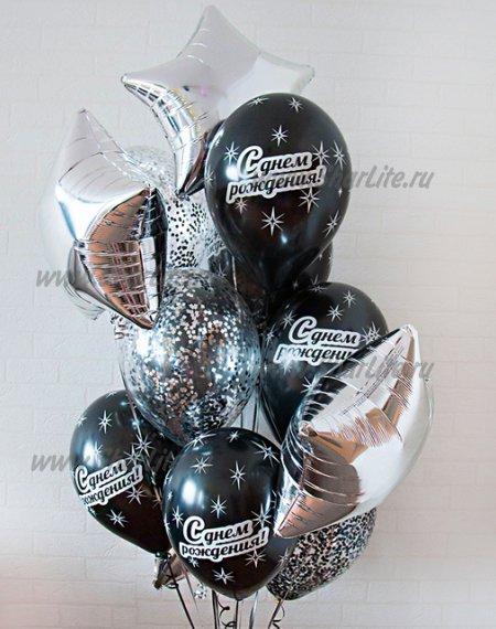 Букет из шаров  черный с серебром С ДР